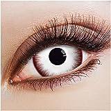 aricona Kontaktlinsen - Lentes de contacto blanco - Lentes de contacto de color sin dioptrías para cosplay, halloween, 2 piezas, Mini Sclera Zombie Night 17mm