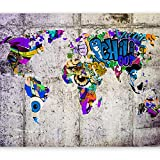 murando Papier peint intissé 350x256 cm Décoration Murale XXL Poster Tableaux Muraux Tapisserie Photo Trompe l'oeil carte du monde Graffiti k-A-0030-a-c
