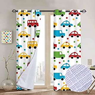 hengshu Cars Shading Insulated Curtain Vivid Colored Silhouettes of Transportation Vehicles Bus Taxi Automobile Kids Pattern for Living Room or Bedroom W96 x L96 Inch Multicolor