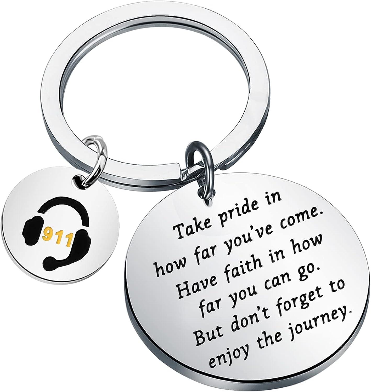 FUSTMW 911 Dispatcher Keychain Dispatcher Gifts 911 Operator Gift Emergency Dispatcher Gift Dispatcher Appreciation Gifts