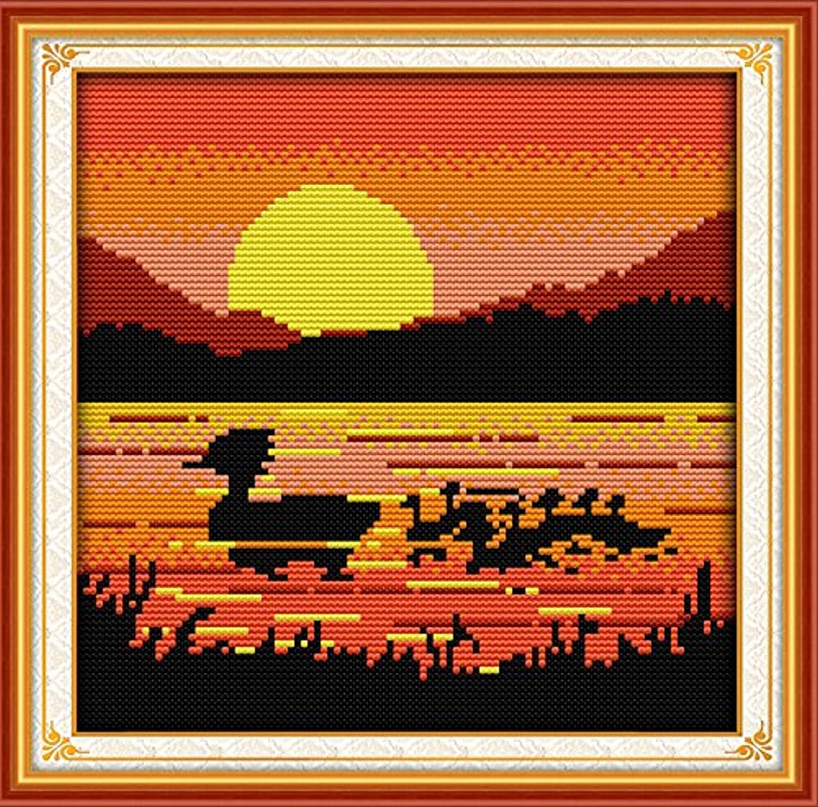 Joy Sunday Cross Stitch Kit 14CT Stamped Embroidery Kits Precise Printed African Style Needlework - The Sunset Ducks