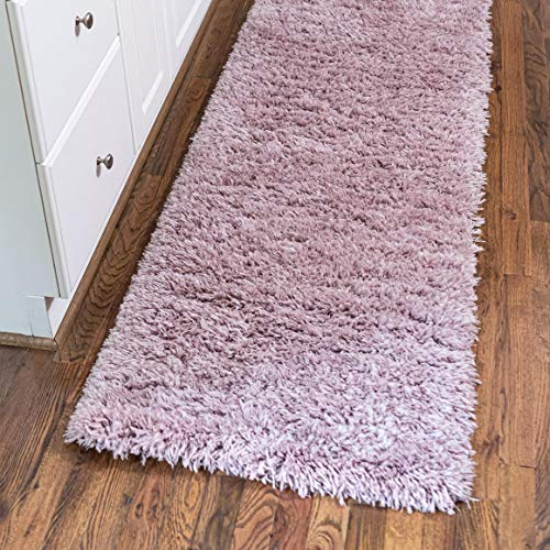 Rugs.com Infinity Collection Solid Shag Area Rug – 6 Ft Runner Lavender Shag Rug Perfect for Hallways, Entryways