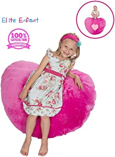 """Elite Enfant Large Pink Heart Shape Stuffed Animal Storage Bean Bag Pillow Chair - 40"""" Comfy Premium Plush Fabric - The Ultimate Storage Solution to Clean Up Kids & Teens & Any Rooms"""