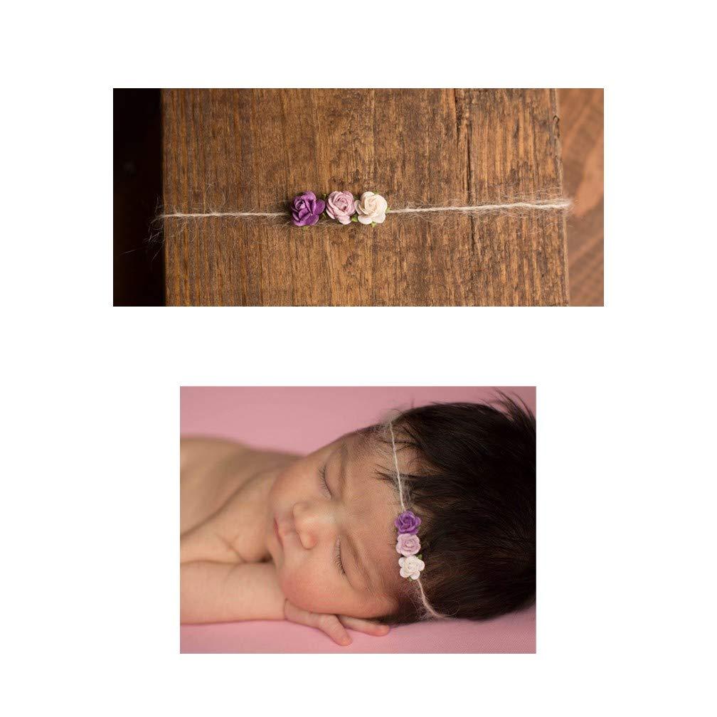 Purple Flower Trio Mohair Tieback Headbands, Photography Prop, Newborn, Toddler, Child, Adult (Purple)