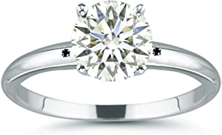 3.05 ct VS1 Round Moissanite Solitaire Silver Plated Engagement Ring Ice White Color Size 7