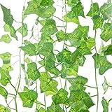 Ventdest plantas hiedra artificial, 12 pcs 2. 2m hiedra hojas de vid artificial enredadera guirnalda para decoración hogar escalera ventana balcón valla jardín boda mesa fiesta