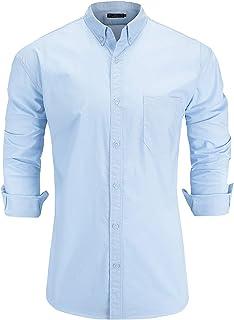 Emiqude Men's Regular Fit Oxford Cotton Long Sleeve Button-Down Solid Dress Shirt