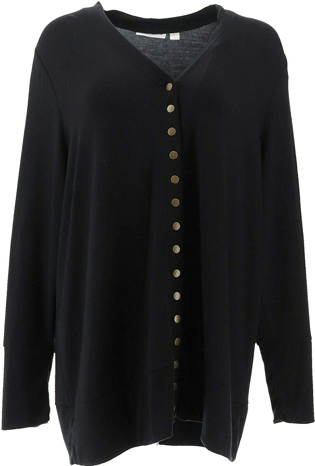 Belle Kim Gravel French Terry Snap Front Cardigan A372720
