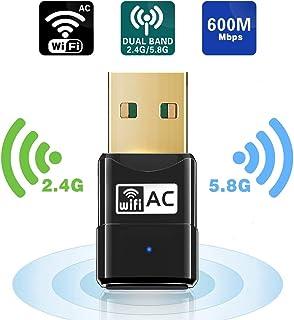 comprar comparacion Maxesla WiFi Adaptador AC 600Mbps Mini USB WiFi Receptor Dual Band 2.4G/5GHz, WiFi Antena para PC Desktop Laptop Tablet, S...
