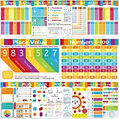 """WHAT YOU GET - Includes 16 Educational Math Posters. Bright color design. Double sided laminated. 11""""*16"""". 16Pcs Educational Posters - Numbers 1-100, Order of Operations, Multiplication, Division, Subtraction, Addition, Multiplication Chart, Roman Nu..."""