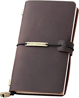 Leather Journal Refillable Travelers Notebook, Antique Handmade Leather Writing Diary Notepad, Travel Journal Notebook for Men & Women, Medium Size 6.7