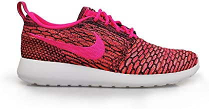 Nike Womens WMNS Rosherun Flyknit Black/Pink Pow-White-Total Orange Synthetic Size 8 Running, Cross Trainers