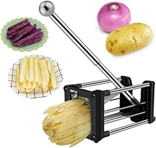 French Fry Cutter, Wosweet Stainless Steel Homemade Professional Potato Chip Cutter for Easy Slicer, 2 Blades