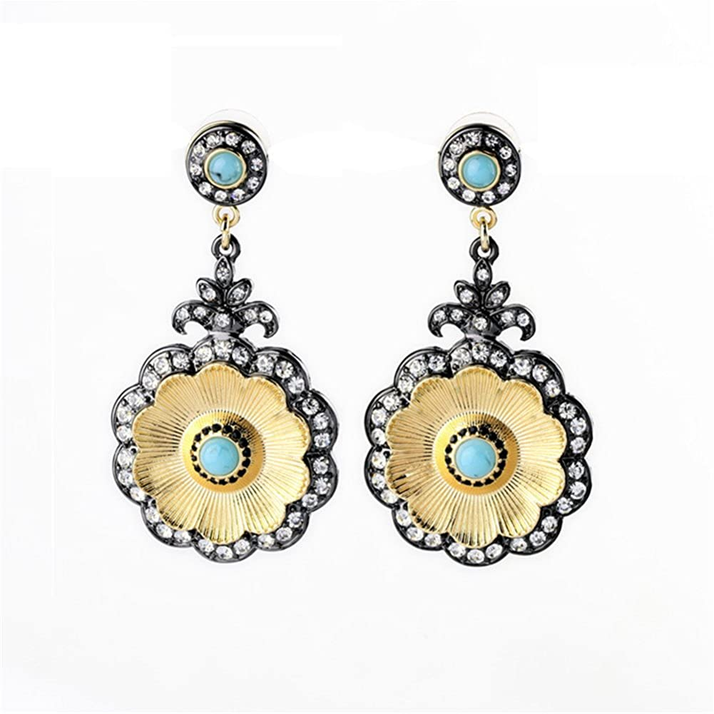 Bling Toman Oil Drip Petal With A Group Of Rhinestone Pendant Stud Earring