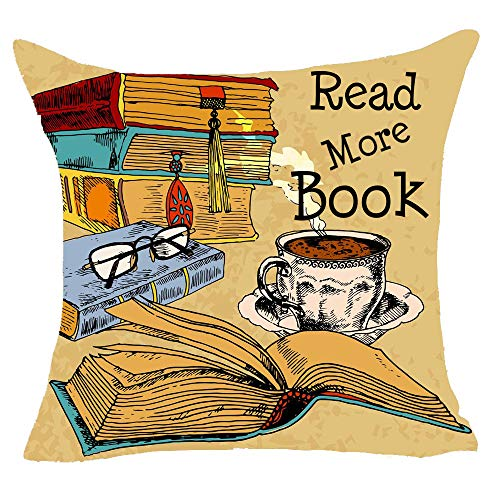 """onech Read More Books Glasses Coffee Retro Library School Reading Room Best Gift Square Pillowcase Cushion Cover Pillow Cover Cotton Linen Pillow Case 18""""X 18"""" for Family"""