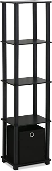 Furinno 15120BKBK Decorative Shelf With Bin Black Renewed