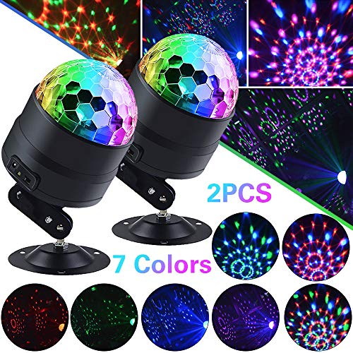 DiscoPart Party-Lights Remote LED Disco Ball Battery Powered, USB Plug and Sound Activated Mode (2pack)