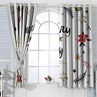 Jinguizi Grommet Window Curtain Blackout Curtain Joy,Christmas Themed Flowers Swirls Stars Celebratory Arrangement Merry Illustration,Camel Red Black Curtain Panels 55 x 63 inch