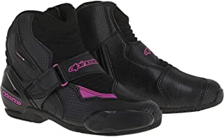 black and pink motorcycle boots