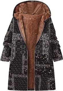 Plus Size Women Winter Warm Printed Pockets Thicker Zipper Hooded Coat Outwear