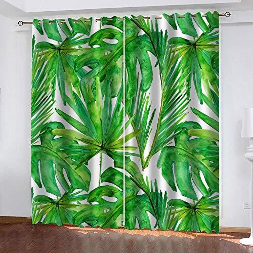 JNBGYAPS 3D Gedruckte Vorhänge Riesige grüne Blätter Thermovorhang Verdunkelungsgardine Lichtundurchlässige Vorhang mit Ösen für Schlafzimmer Wohnzimmer Geräuschreduzierung2 x 110 x 215 cm
