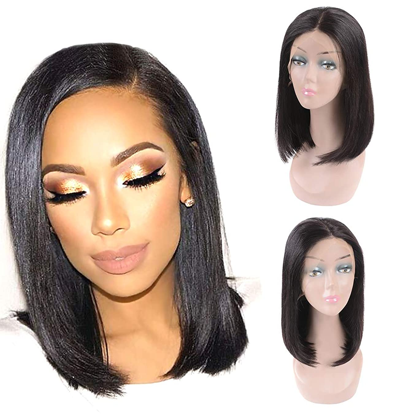 Gabrielle Hair 14 Inch Straight Bob Wig Lace Front Human Hair (13x4-150% Density- Natural Black) Pre Plucked with Baby Hair Brazilian Remy Human Hair Bob Straight Lace Frontal Wigs
