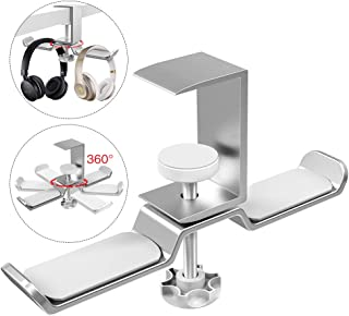 Dual Headphone Stand Hanger Under Desk, APPHOME 360 Degree Rotating PC Gaming Headset Holder Aluminum Clamp Hook Space Save Mount, Universal Fit All Headphones, Silver