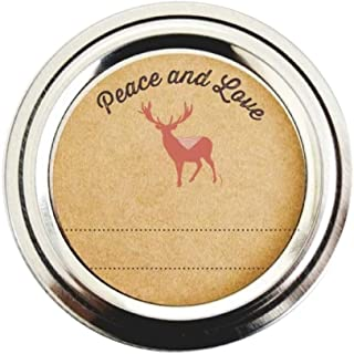 Deer Canning Mason Jar Labels, Peace and Love Message, Blank Lines by Once Upon Supplies, Gift Stickers, 2 Inches Size Fit...