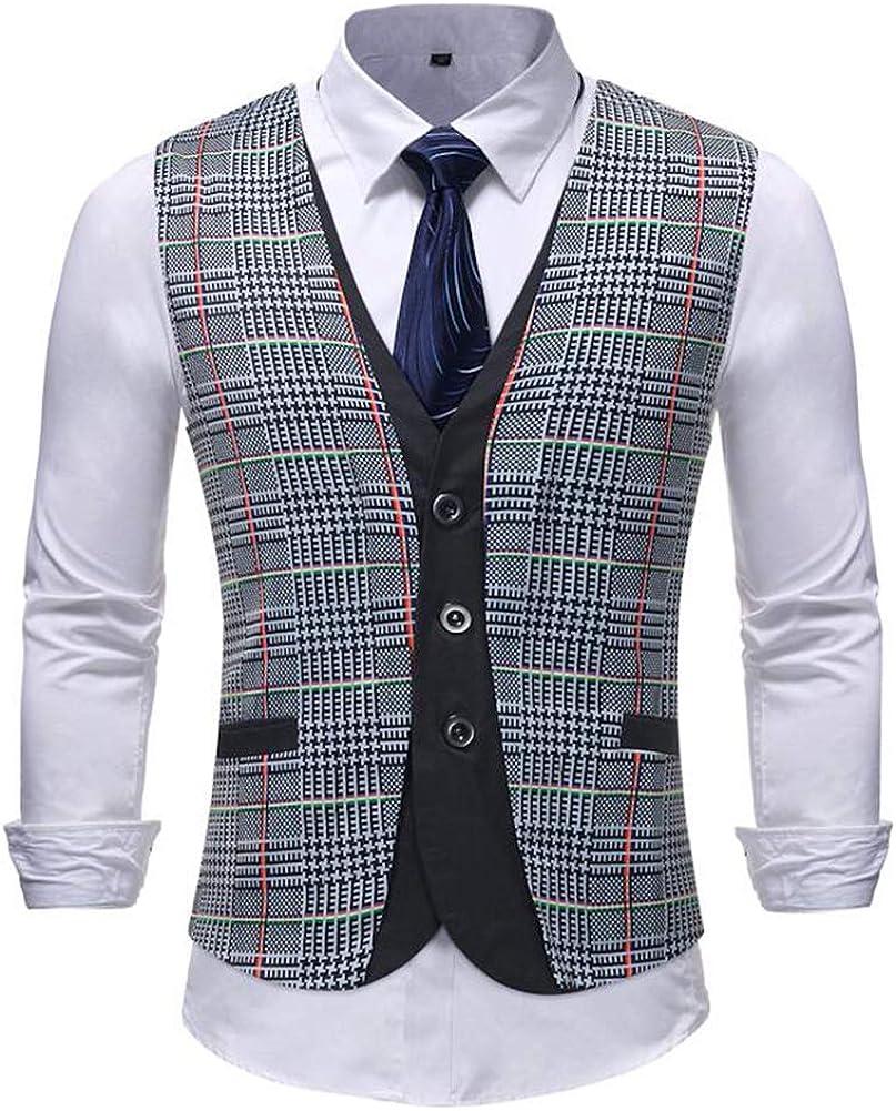 TOPG Men's Business Suit Vest Layered Plaid Dress Vest Waistcoat