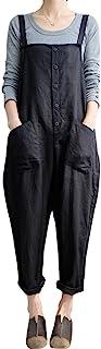 Gihuo Women's Baggy Wide Leg Loose Overall Linen Harem Pants