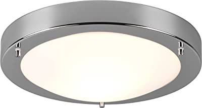 TRIO, Plafonnier, Condus 1xE27, max.60,0 W Verre opale, Blanc, Corps: metal, Chrome Ø:31,5cm, H:8,0cm IP44
