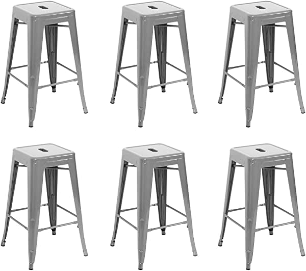 Belleze 26 Inch Metal Counter Stools Stackable Silver Set Of 6