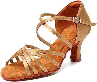 HIPPOSEUS Zapatos de Baile Latino para Mujer Zapatos de práctica de Baile de Salsa con Punta Abierta Modelo WZJ