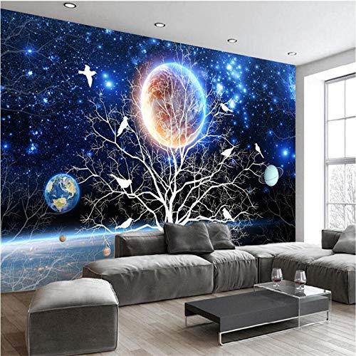 XLXBH 3D-behang, zelfklevend wandschilderij, 3D-fantasy sterrenhemel bloem vogel universum Galaxie planeten fotobehang wandschilderij woonkamer achtergrond kinderkamer kantoor eetkamer woonkamer decoratie 520x290 cm (BxH) 11 Streifen - selbstklebend