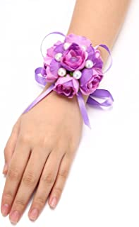 FAYBOX Girl Bridesmaid Wedding Wrist Corsage Party Prom Hand Flower Decor Pack of 2 Purple