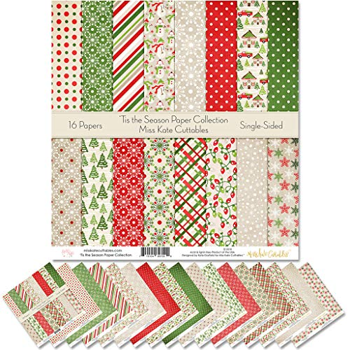 Pattern Paper Pack - 'Tis The Season - Scrapbook Specialty Paper Single-Sided 12'x12' Collection Includes 16 Sheets - by Miss Kate Cuttables