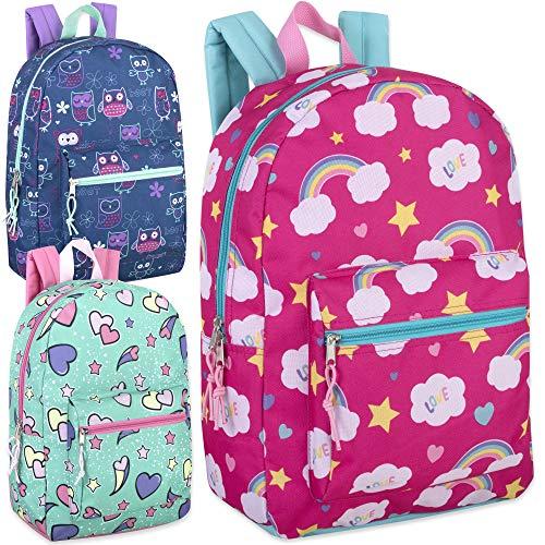 24 Pack of Wholesale 17 Inch Printed Bulk Backpacks For Kids - Boys and Girls Bulk Wholesale Backpacks (Girls 3 Color Assortment)
