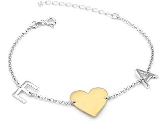 Braccialetto iniziale - Braccialetto cuore - Lettere - Cuore - Gioielli veri - Gioielli personalizzati