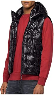 Replay Jeans Chaleco acolchado con capucha, color negro