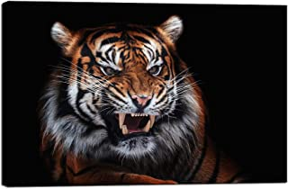 iKNOW FOTO Canvas Wall Art Sumatran Tiger Giclee Print Gallery Wrap Animal HD Prints Pictures for Living Room Home Decor Wooden Framed Stretched Ready to Hang 24x36inch
