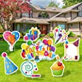 Elcoho 8 Pack Happy Birthday Yard Signs Outdoor Lawn Sign Decorations Colorful Balloon Birthday Cake Birthday Hat Yard Sign with Stakes for Home Party Decorations