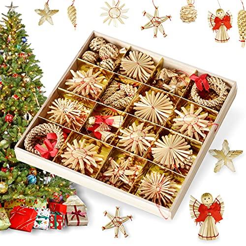 56 Pezzi Decorazioni di Paglia per Albero di Natale,Ciondoli Natalizi da Appendere,Albero di Natale Ornamenti di Paglia,Natale di Grano Paglia Pendenti Creativa Decorazione
