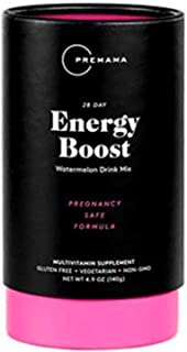 PREMAMA - Prenatal Energy Boost Drink Mix - Gluten-Free, Vegetarian, and Non-GMO - Watermelon Flavor - 28 Servings