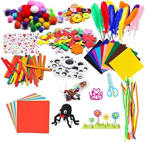 Kit per Lavoretti Creativi, Set di Strumenti per la Pulizia Palla Pompon e Scovolini Pipa Ciniglia Steli per Mestiere Fai da Te Decorazioni, Set Bricolage, Craft Kit per Hobby Creativi per Bambini