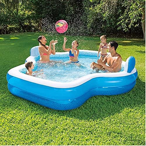 ZHANGLE Piscina Inflable Familiar, con respaldos Piscina de salón al Aire Libre de tamaño Completo, Centro de natación de jardín Engrosado, para Fiesta acuática de Verano