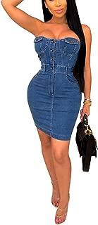 Women's Casual Spaghetti Strap Denim Jean Sexy Mini Overall Dress