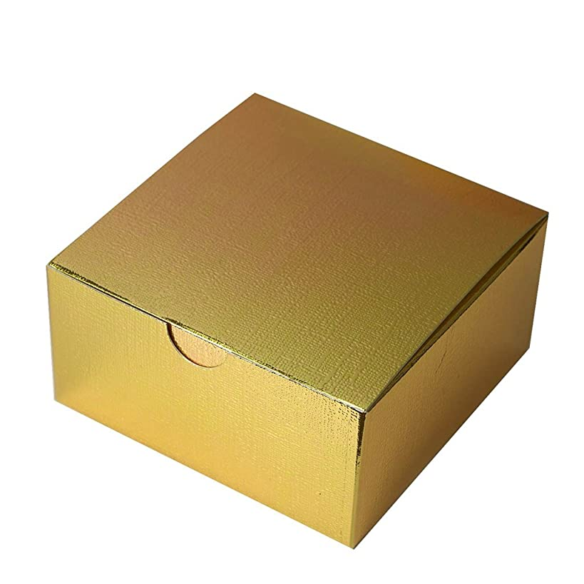 BalsaCircle 100 4 x 4 x 2 Gold Cake Wedding Favors Boxes with Tuck Top for Wedding Party Birthday Candy Gifts Decorations Supplies