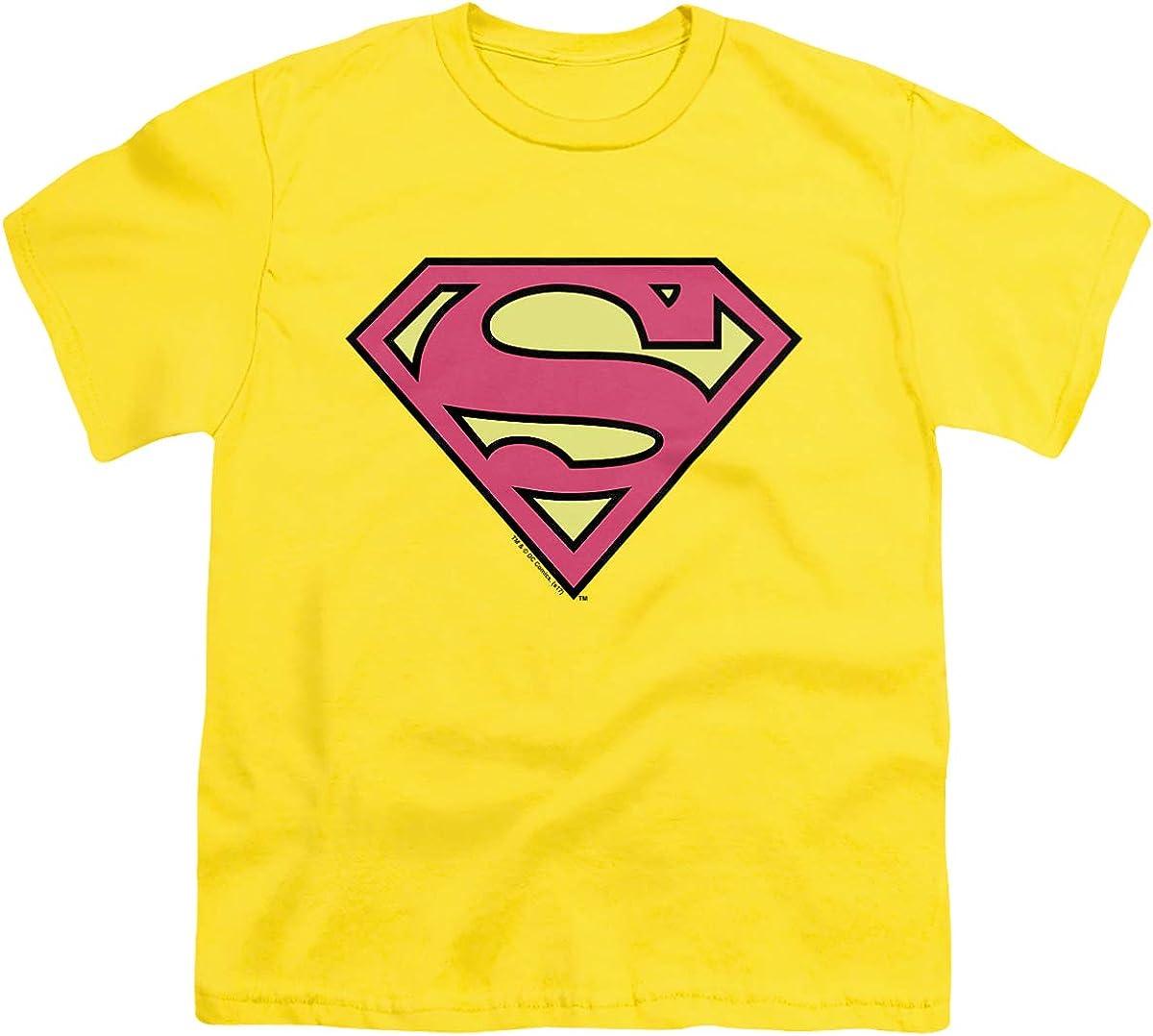 DC Superman Classic Logo Unisex Youth T Shirt, Yellow, X-Large