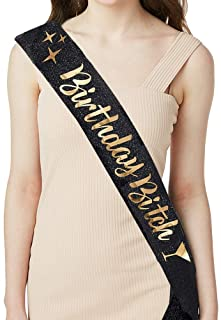 ADBetty Birthday Sash - Birthday Gifts for Women Birthday Girl Sash Fun Party Favors (Black/Gold)