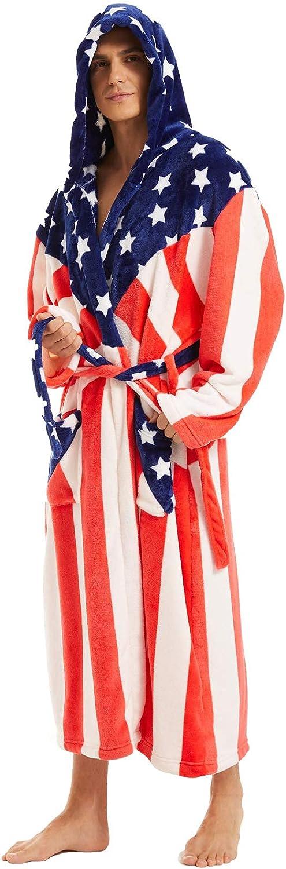 iniber Men Robes Soft Lightweight Easy-to-use unisex Length Full Robe,Pl